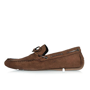 Brown suede woven driver shoes