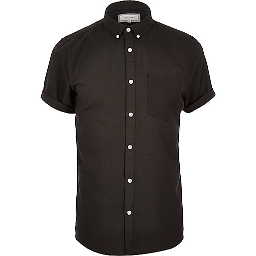 Black casual short sleeve Oxford shirt