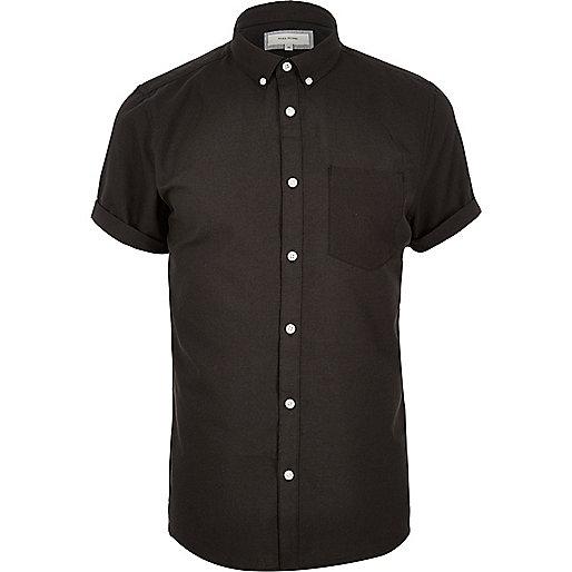 Black casual short sleeve Oxford shirt