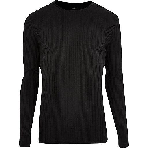 T-shirt noir côtelé ajusté à manches longues