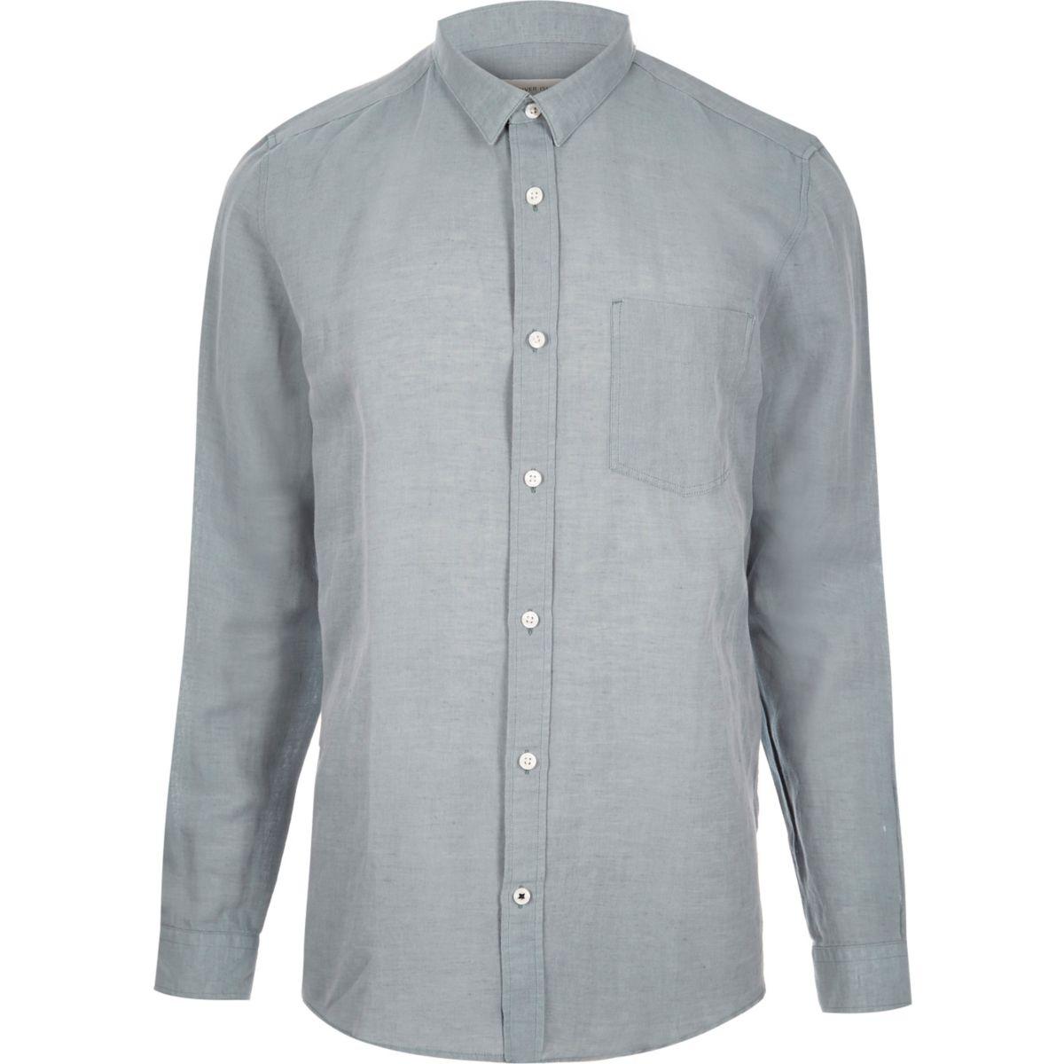 Grey relaxed fit linen-rich shirt
