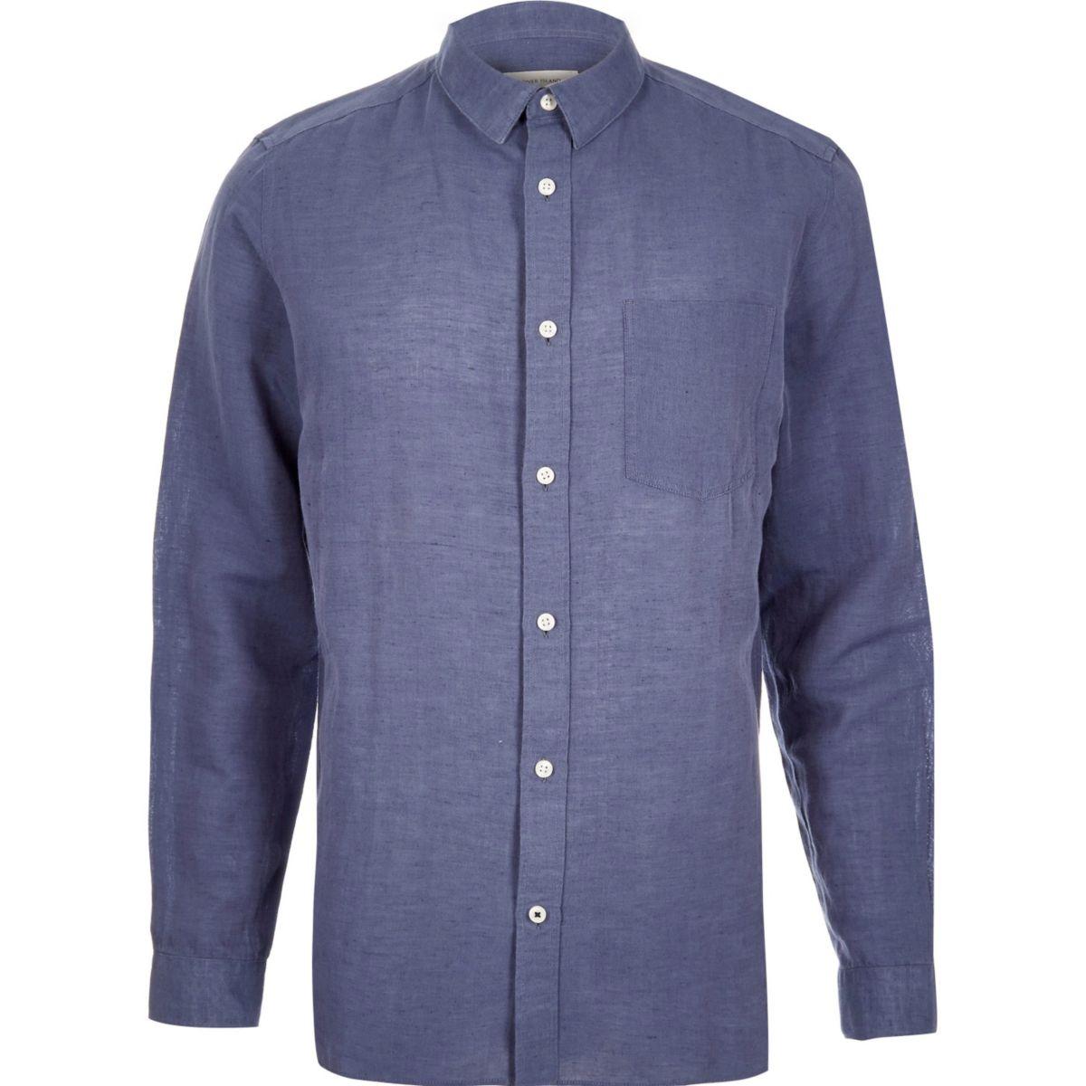 Blue relaxed fit linen-rich shirt