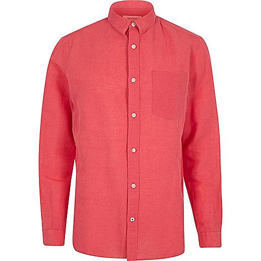 Pink linen-rich shirt