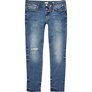 Mid blue wash Sid distressed skinny jeans