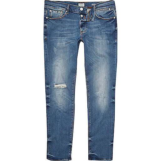 Sid – Skinny Jeans in mittelblauer Waschung im Used-Look