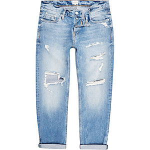Light blue distressed Dean straight jeans