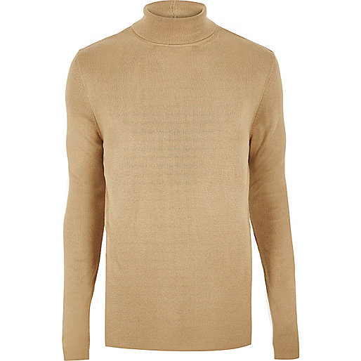 Light brown ribbed roll neck sweater