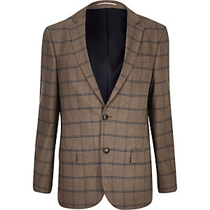 Ecru checked tailored blazer