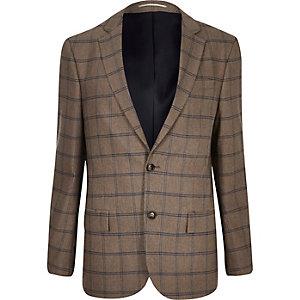 Ecru geruite tailored blazer