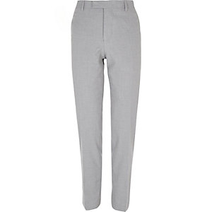 Grey slim suit trousers