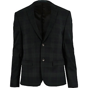 Green tartan skinny suit jacket