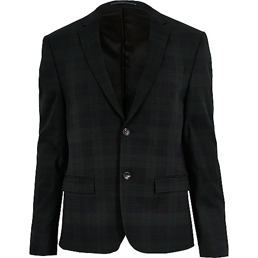 Green plaid skinny suit jacket
