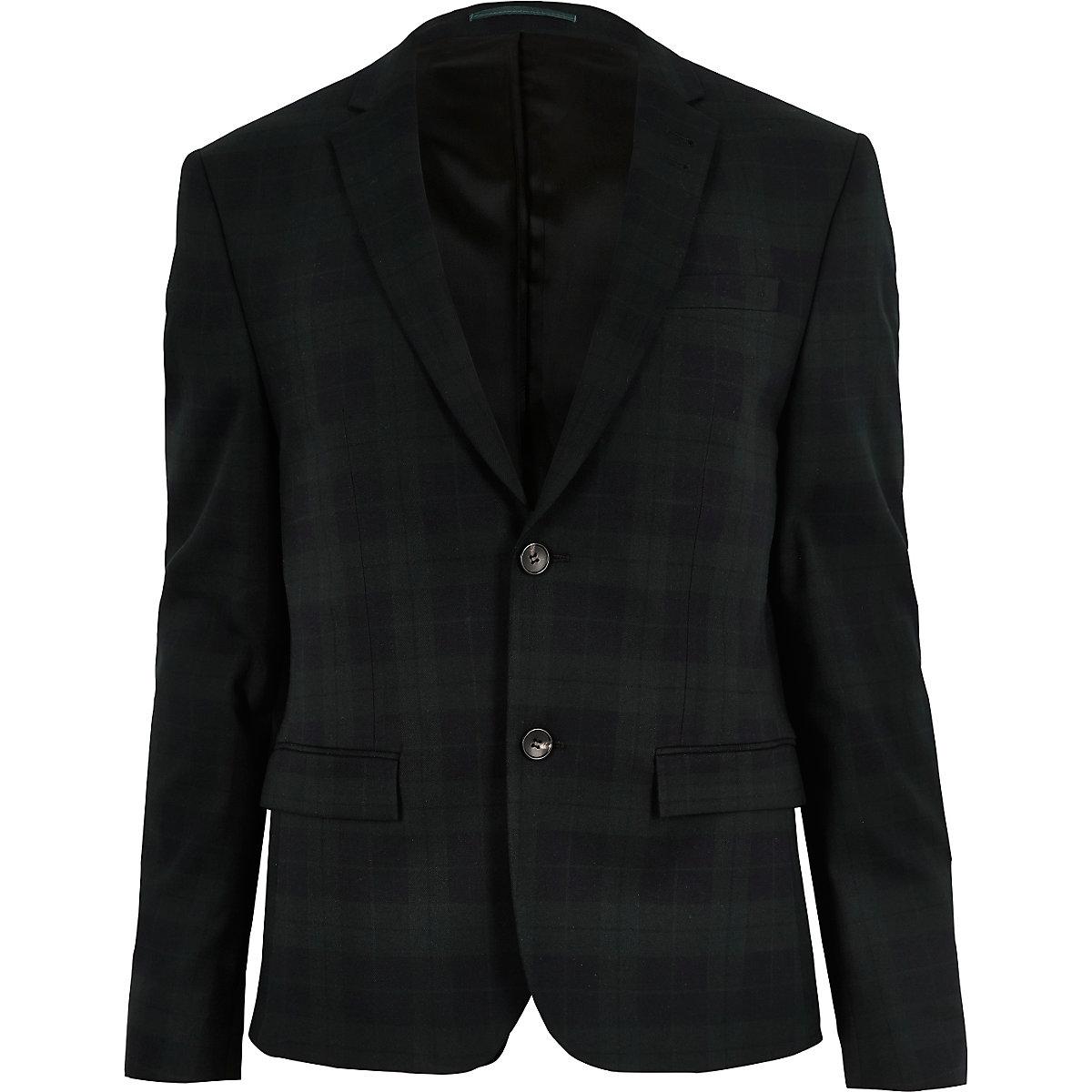 Green plaid skinny suit jacket