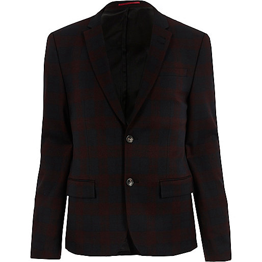 Red tartan skinny suit jacket