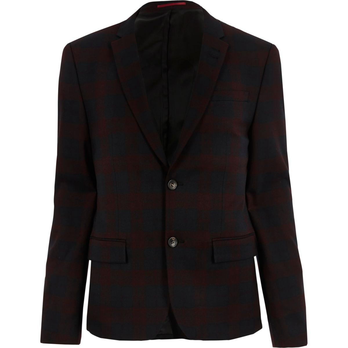 Red tartan skinny suit jacket