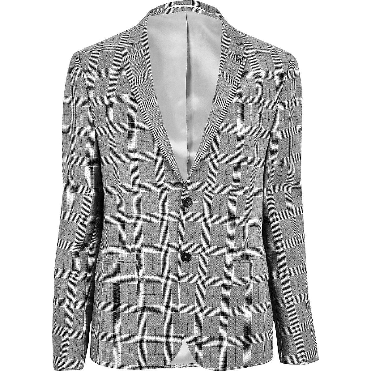 Ecru skinny fit suit jacket