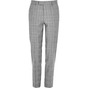 Ecru skinny fit suit trousers
