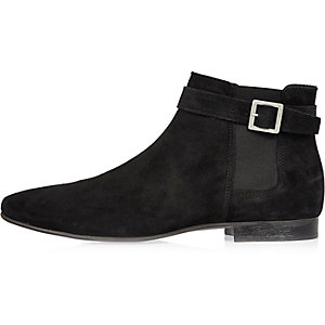 Black buckle strap Chelsea boots