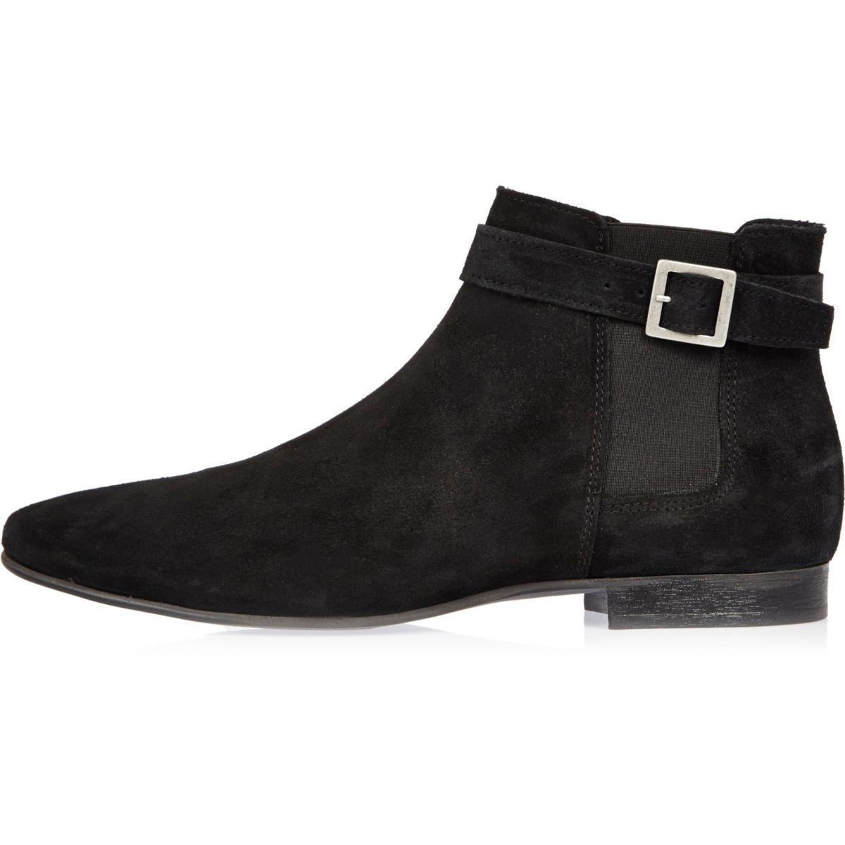 Schwarze Chelsea-Stiefel mit Schnallenriemen