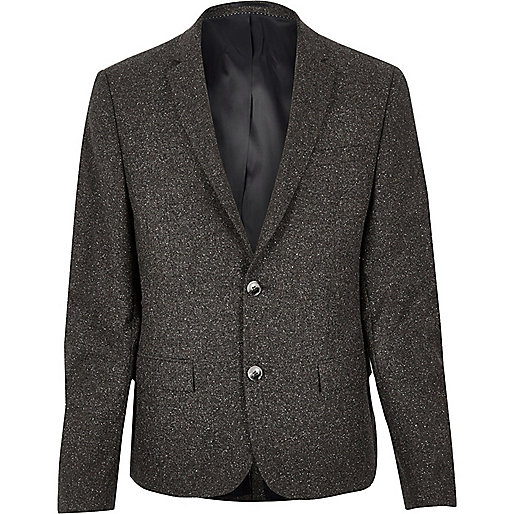 Brown wool skinny suit jacket
