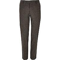 Brown wool skinny suit pants