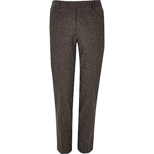 Pantalon de costume en laine marron coupe skinny