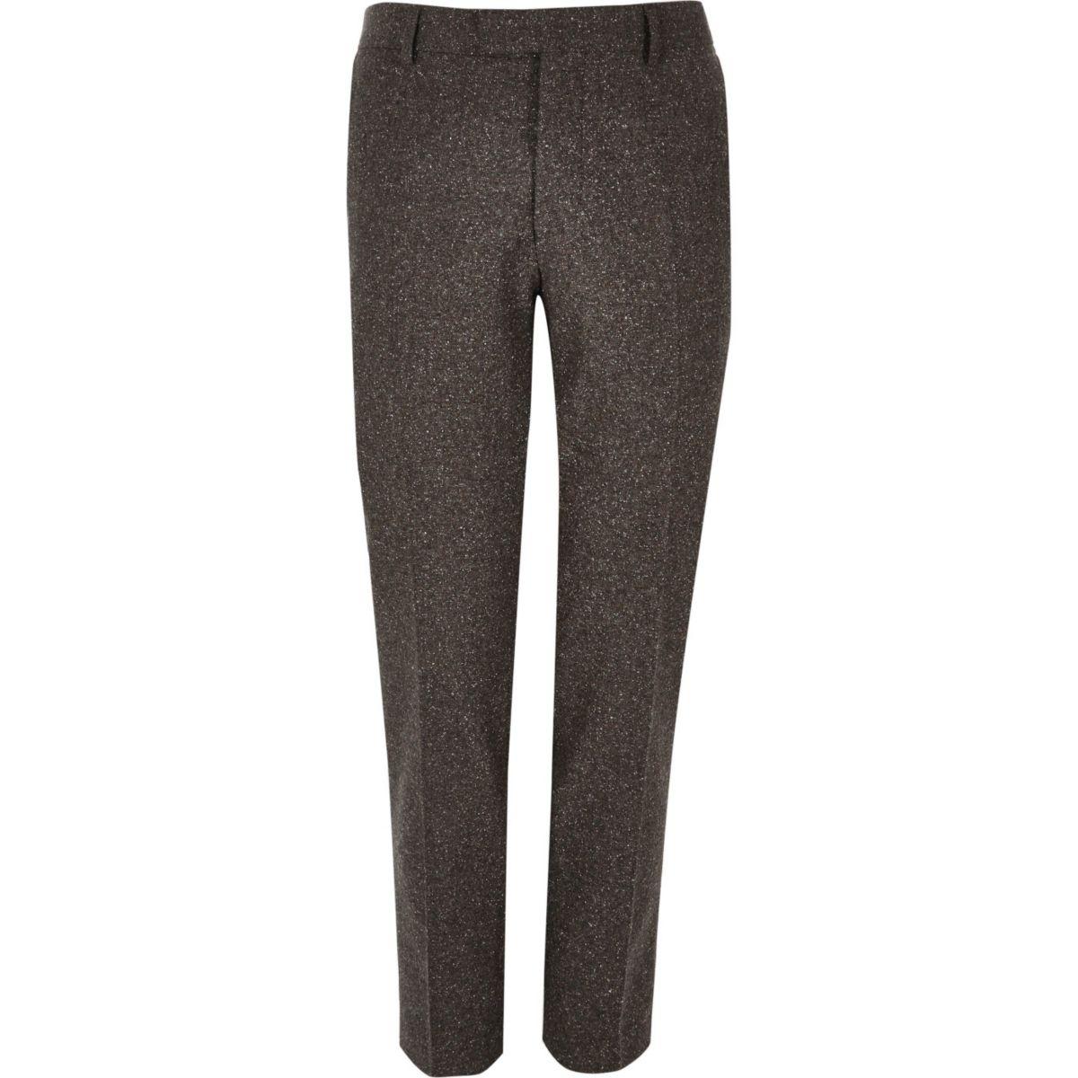 Brown wool skinny suit trousers
