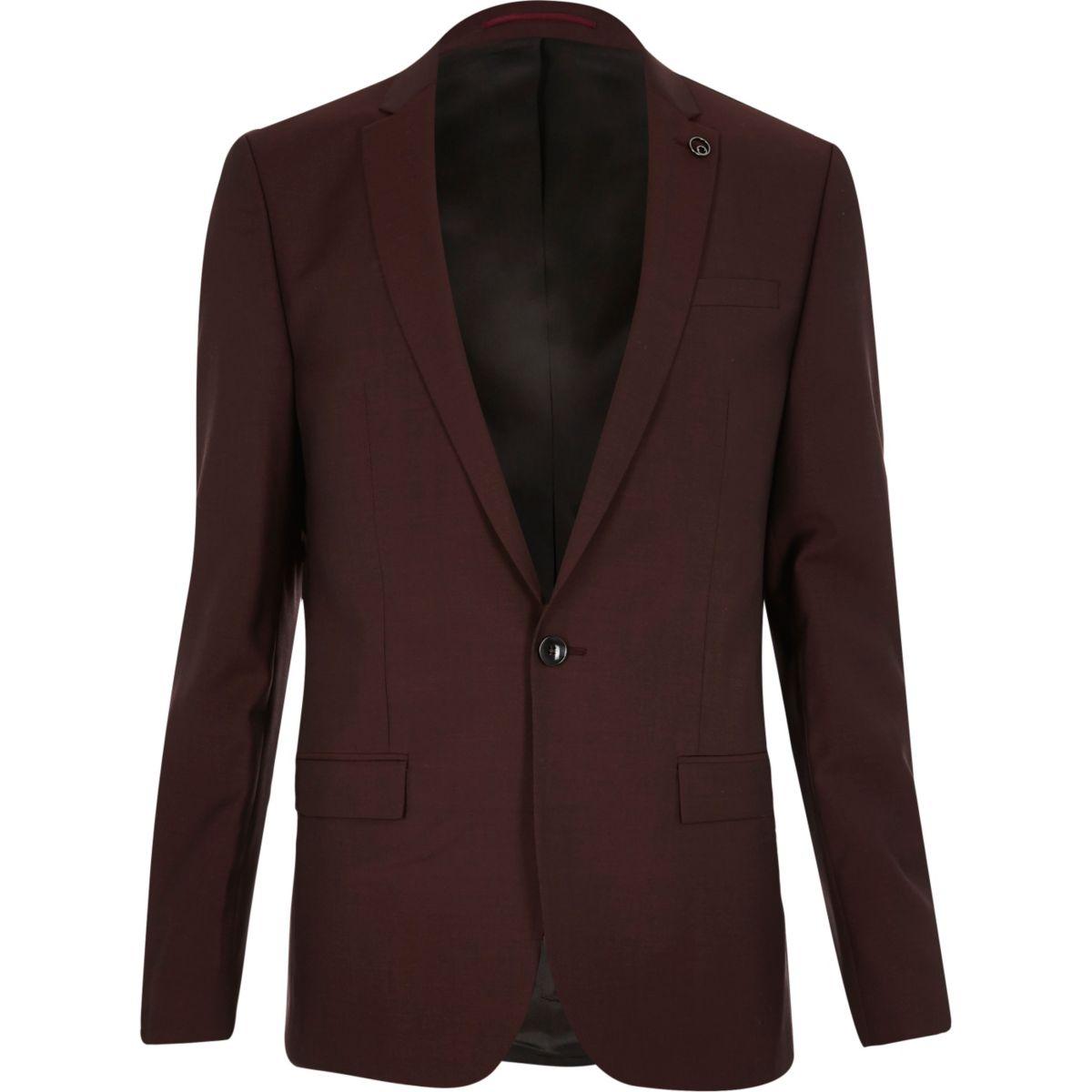Berry skinny suit jacket