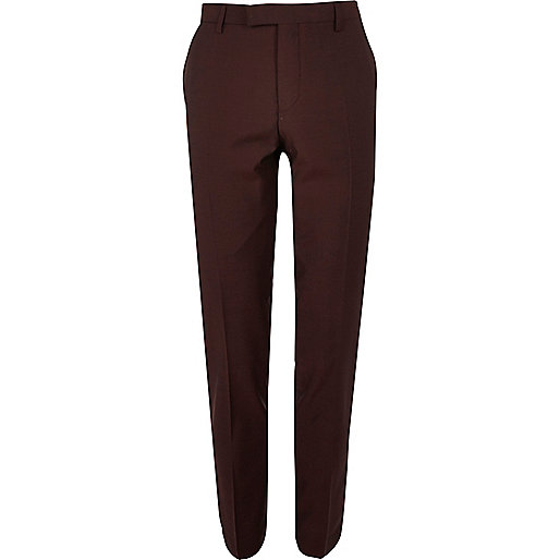 Berry skinny fit suit pants