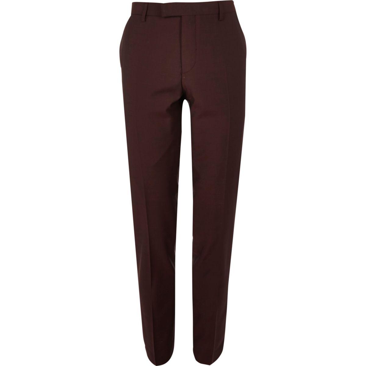 Berry skinny fit suit pants