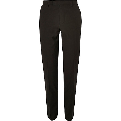 Khaki skinny fit suit pants