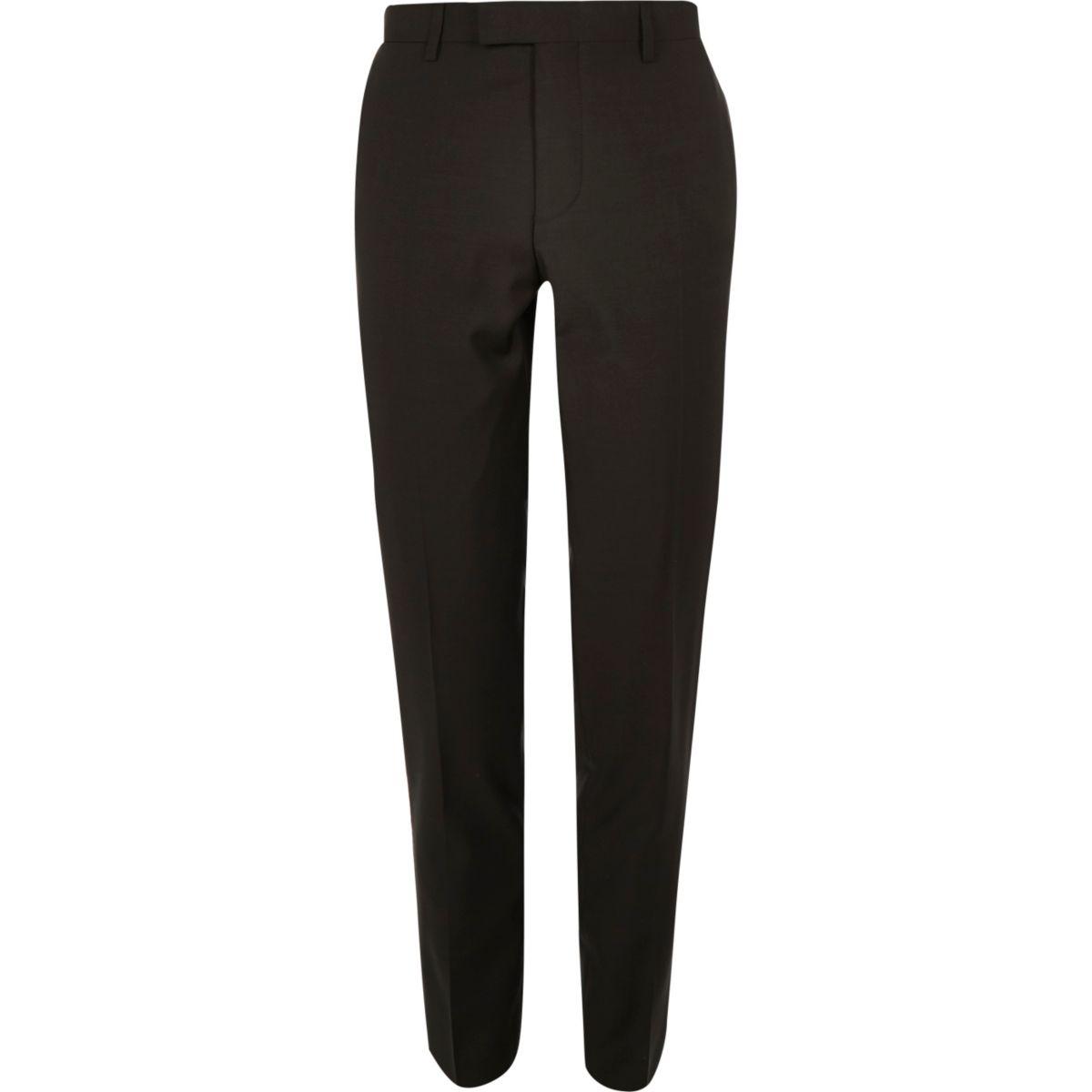 Khaki skinny fit suit trousers
