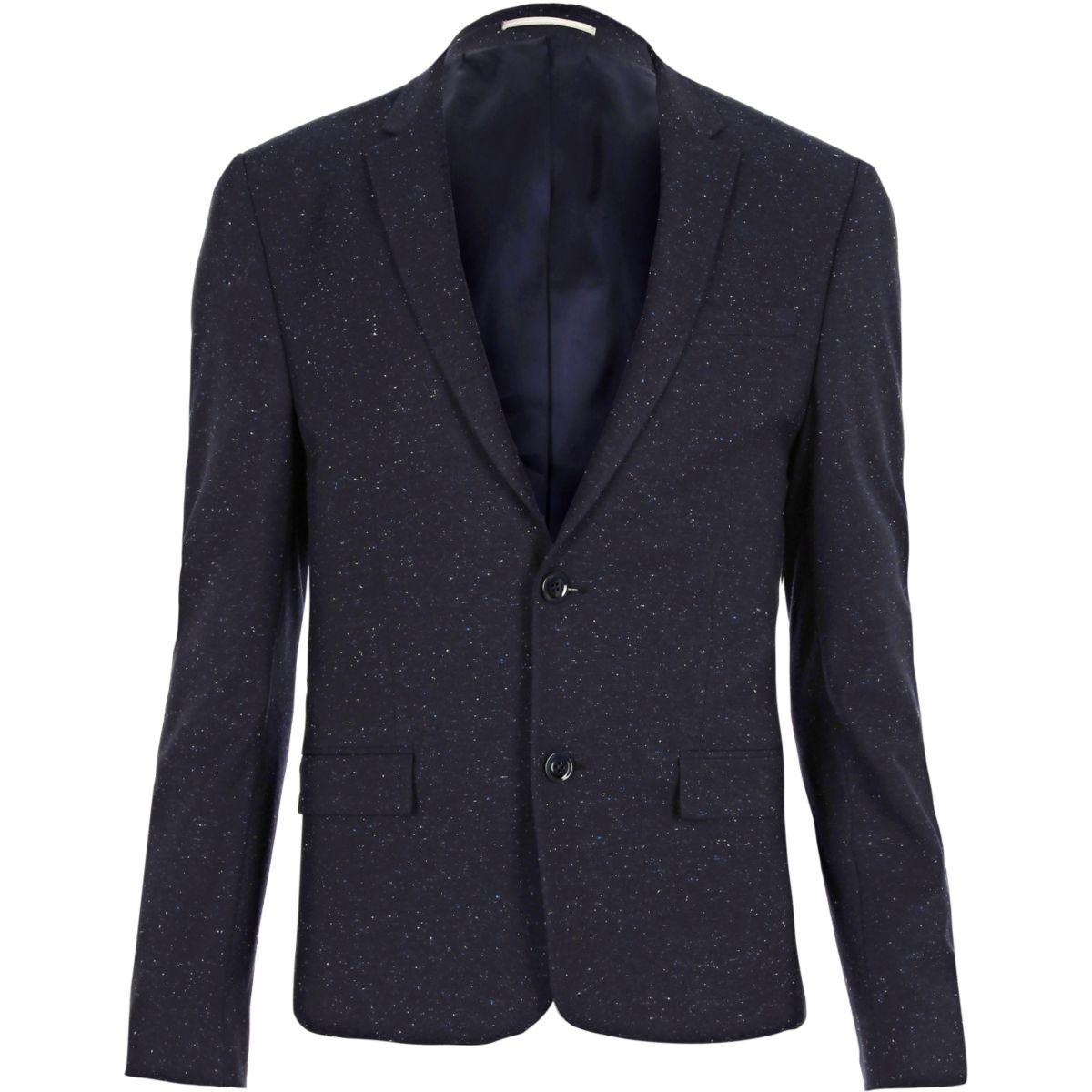 Veste de costume bleu moucheté coupe skinny