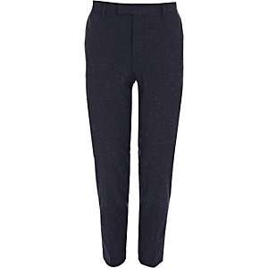 Blue flecked skinny suit trousers