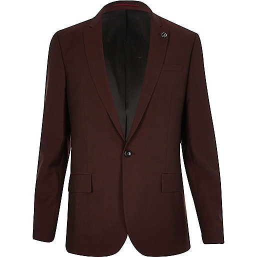 Veste de costume rouge foncé coupe cintrée