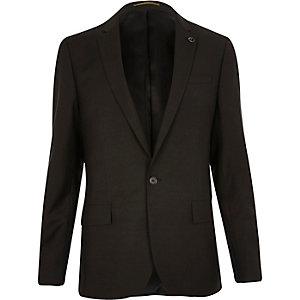Khaki slim fit suit jacket