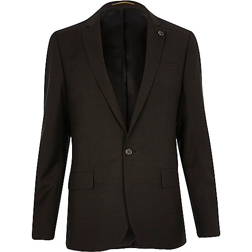 Khaki slim fit suit jacket