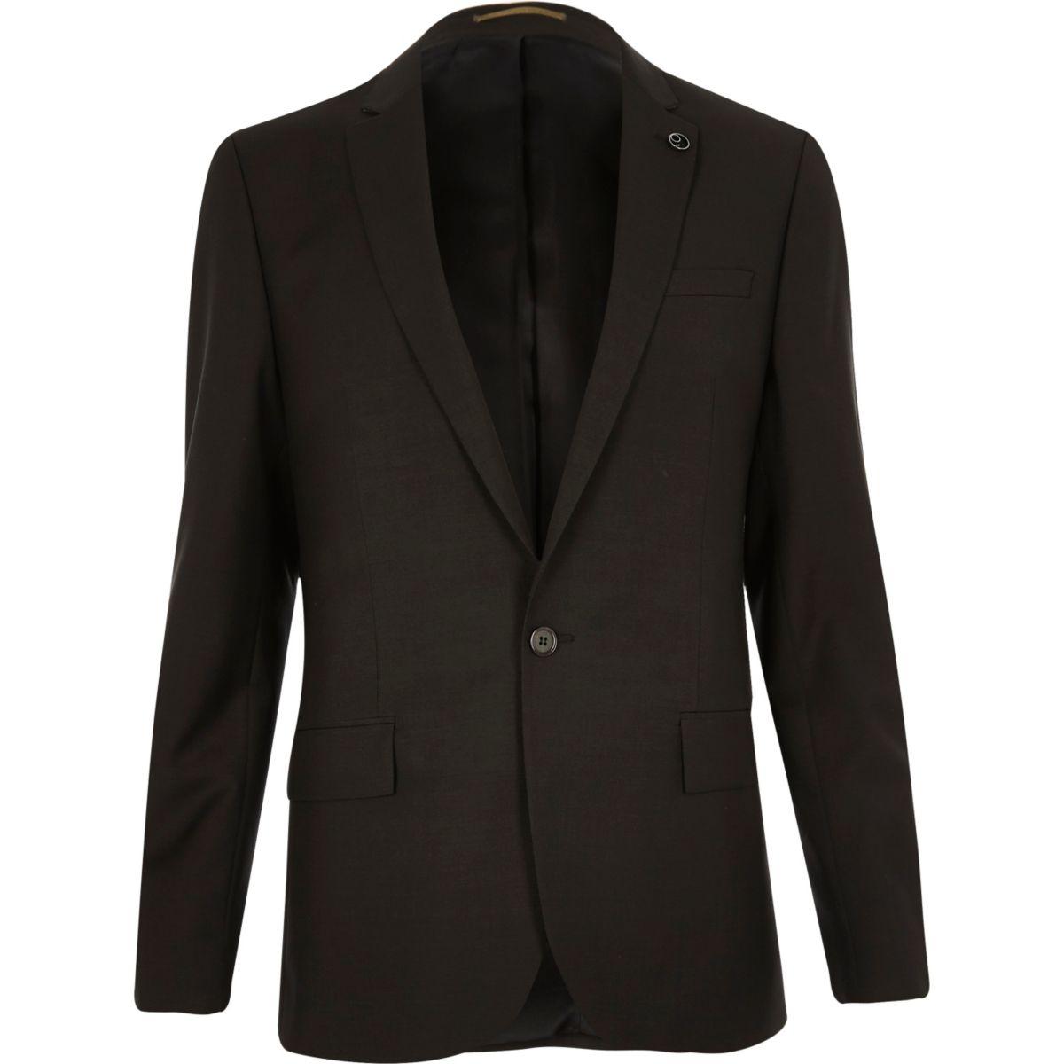 Schmale Anzugsjacke in Khaki