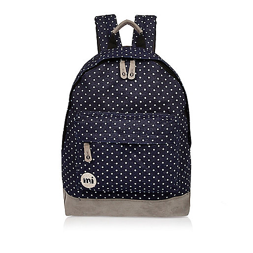 Navy spotted denim Mi-Pac backpack