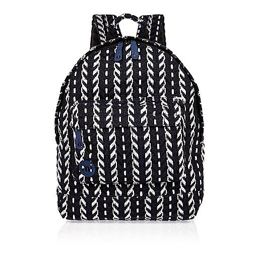 Navy Mi-Pac folk knit backpack
