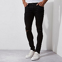 Danny – Schwarze Superskinny Jeans im Used-Look