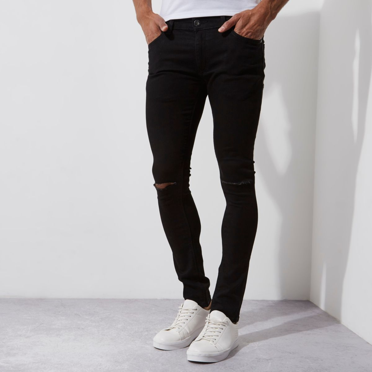 Black ripped super skinny Danny jeans - Jeans - Sale - men
