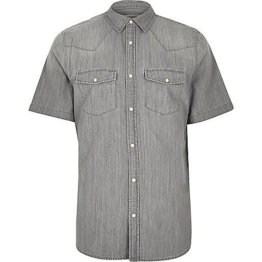 Grey casual short sleeve denim shirt
