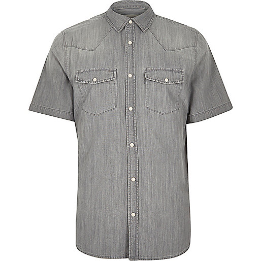 Grey casual short sleeve denim shirt