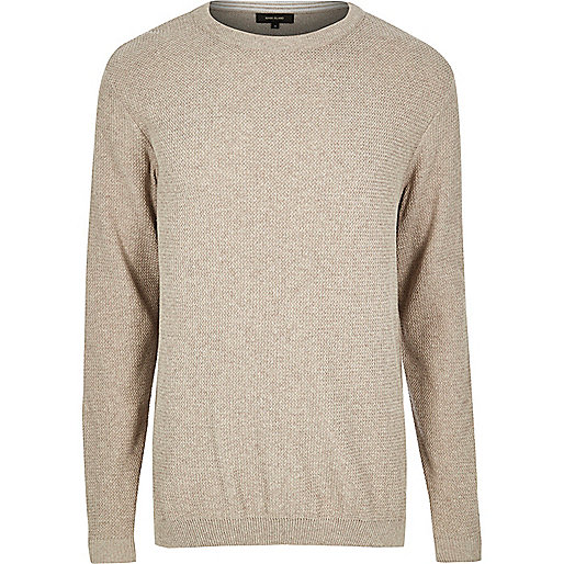 Stone crew neck sweater