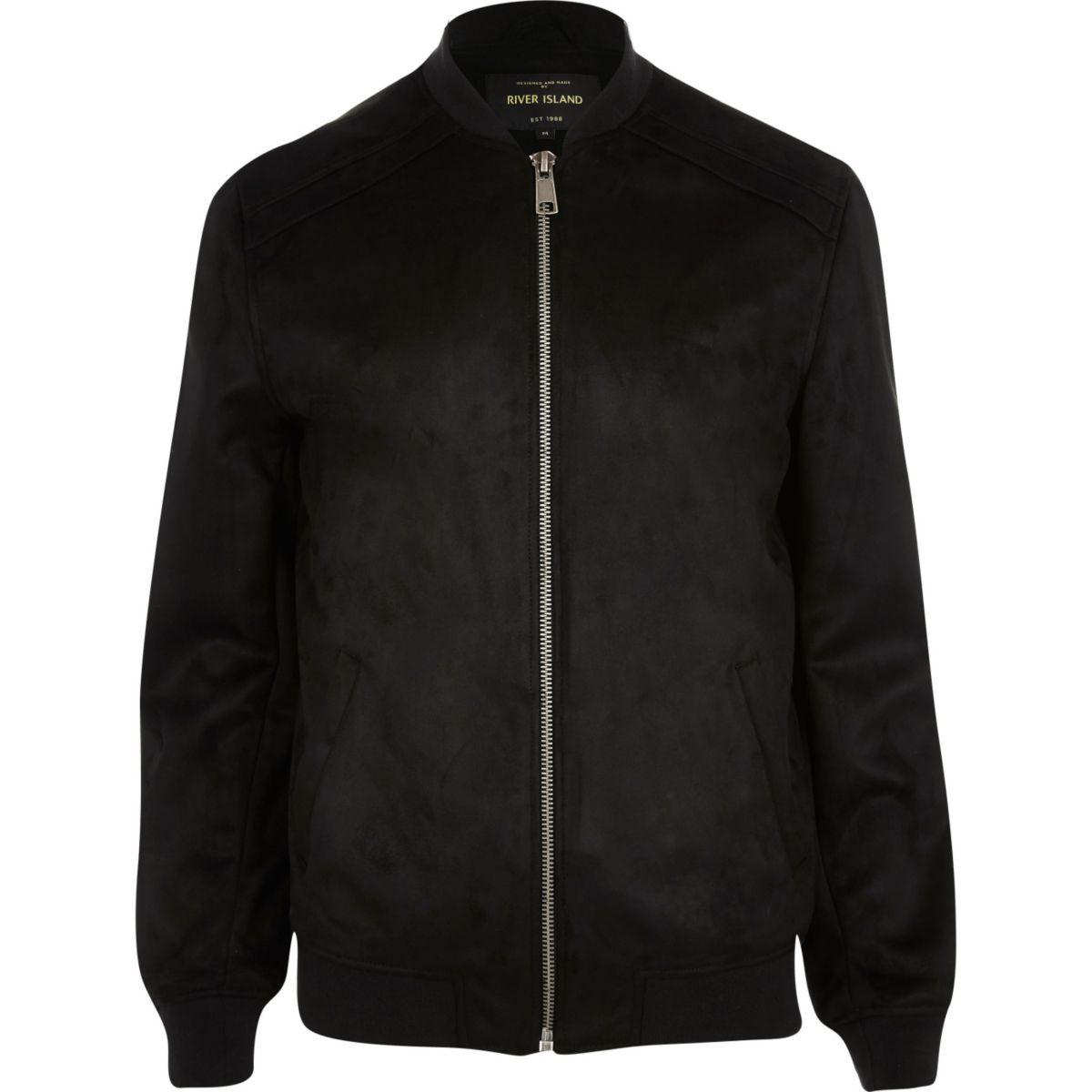 Black faux suede bomber jacket