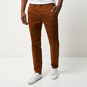Rust slim fit trousers