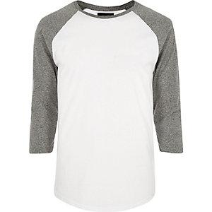 White raglan slim fit long sleeve T-shirt