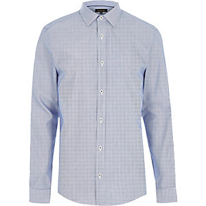 Blue formal stripe slim fit shirt