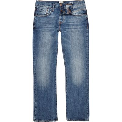 Clint Middenblauwe wash bootcut jeans